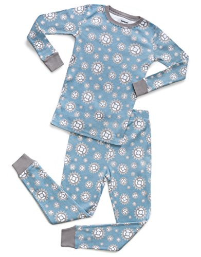 Leveret Organic Cotton Gears 2 Piece Pajama Set 4 Years