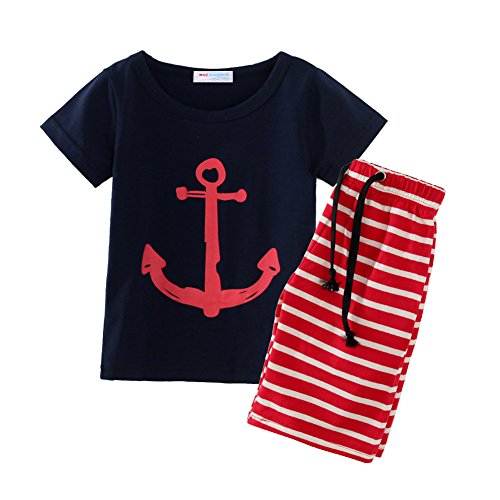 Mud Kingdom Little Boys Short Clothes Sets Beach Outfits Holiday Size 5 Navy Blue by Mud Kingdom