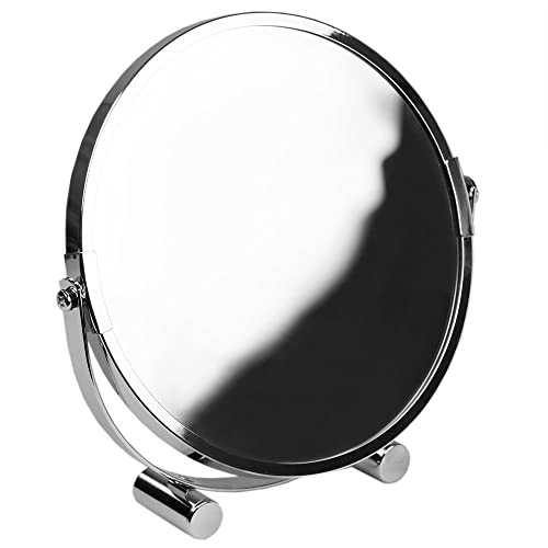 Home Basics Heavy Duty Chrome Plated Steel, Cosmetic Make-up Bathroom Round Mirror, Silver