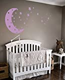 Moon and Stars Night Sky Vinyl Wall Art Decal Sticker Design for Nursery Room DIY Mural Decoration (Lilac, 22x49 inches)