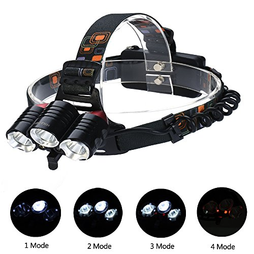 Ultra Bright Rechargeable LED Headlamp, Camping Hiking Fishing Hunting Headlamp,4 Mode 3 XM-L2 T6 Shipped with Two 18650 Batteries(HILLPOW314) (Headlight For Medic)