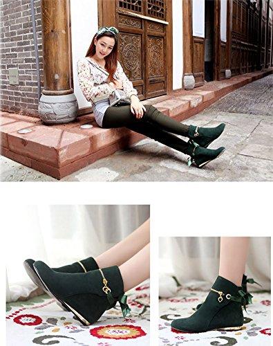 Courtes De Elegant Femme Bottines Boots Chaussures Laine Talon Neige Bottes Automne Antidérapage Chelsea Shallgood Classiques Hiver Vert Plat fACgFAq