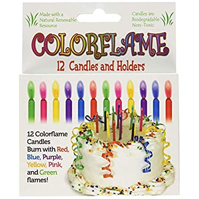 Colorflame Birthday Candles With Colored Flames - Birthday, Party, Cake Decor - 12 Candles Per Box: Toys & Games