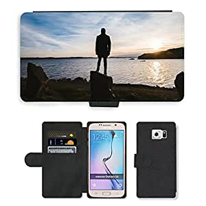Super Stella Cell Phone Card Slot PU Leather Wallet Case // M00421799 Sunset Sunrise Ocean Person // Samsung Galaxy S6 (Not Fits S6 EDGE)