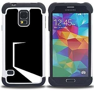 """SAMSUNG Galaxy S5 V / i9600 / SM-G900 - 3 en 1 impreso colorido de Altas Prestaciones PC Funda chaqueta Negro cubierta gel silicona suave (Minimalista Negro Puerta"""")"""
