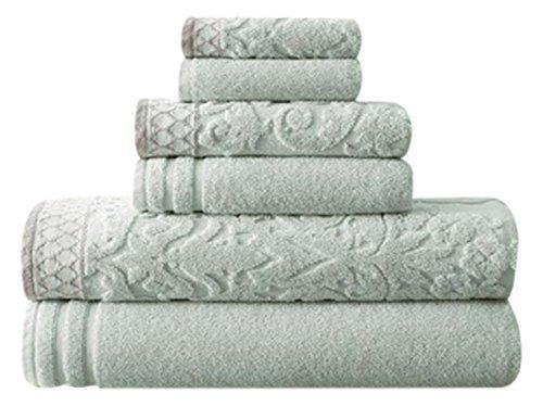 Amrapur Overseas 6-Piece Damask Jacquard/Solid Ultra Soft 550GSM 100% Combed Cotton Towel Set with Embellished Borders [Light Blue] (Embellished Towel Sets)