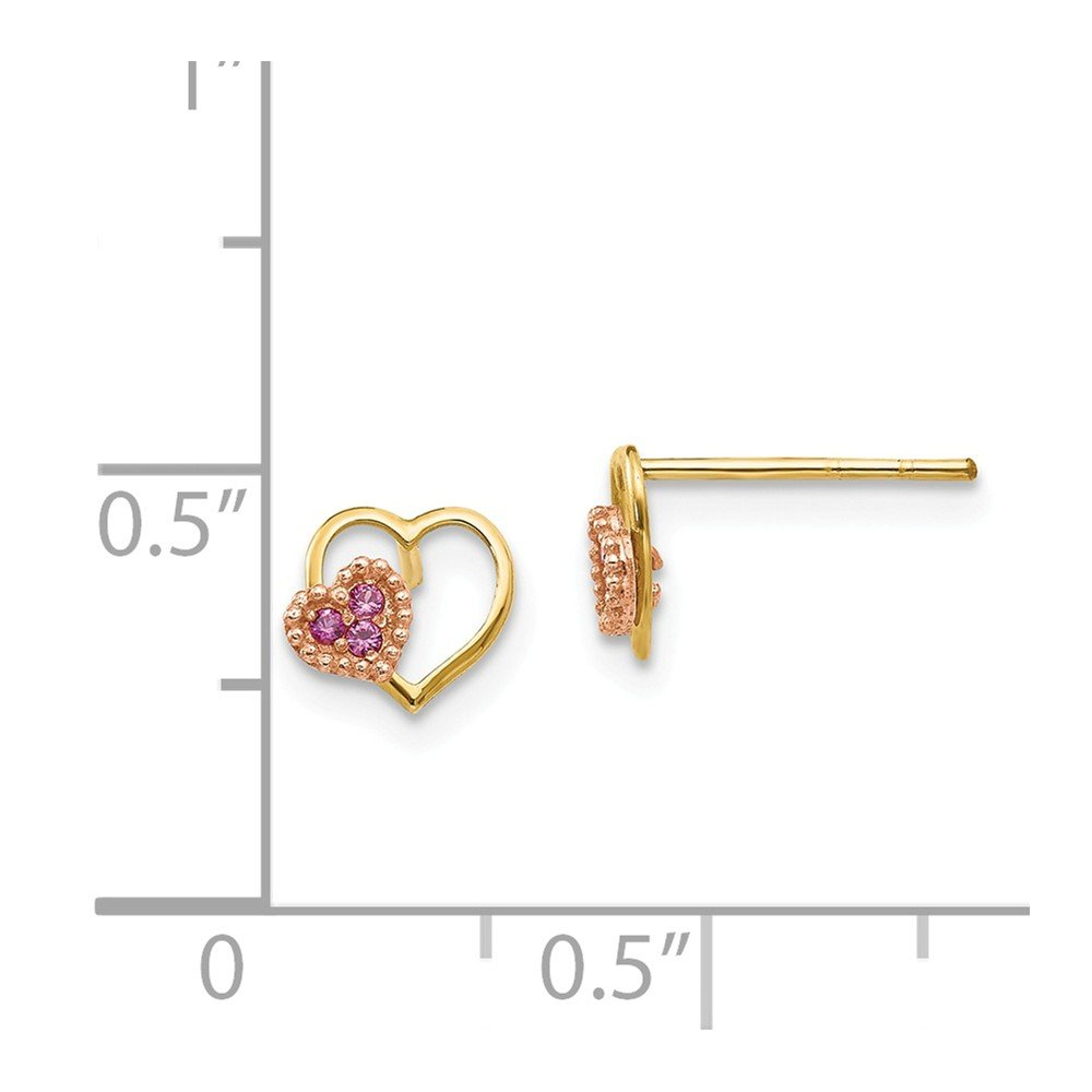 14K Rose And Yellow Gold Madi K Childrens 7 MM Pink CZ Heart Post Stud Earrings