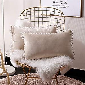 FabThing 2 Pcs Housse de Coussin Rectangulaire en Velours Taie d'oreiller Decorative Super Doux Maison Salon Chambre…