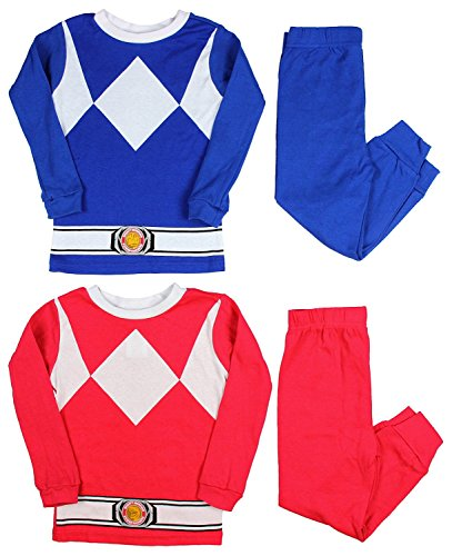 Ame Kids Mighty Morphin Power Rangers Red and Blue Ranger Costume Pajama Sets (8) ()