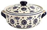 "Polish Pottery Geometric Blue Flower Round Covered Serving Dish, 10.25""L x 8.5""W x 5.75""H w/60-oz Capacity"