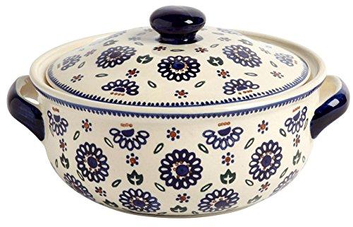 """Polish Pottery Geometric Blue Flower Round Covered Serving Dish, 10.25""""L x 8.5""""W x 5.75""""H w/60-oz Capacity by Ceramika Z Boleslawca"""