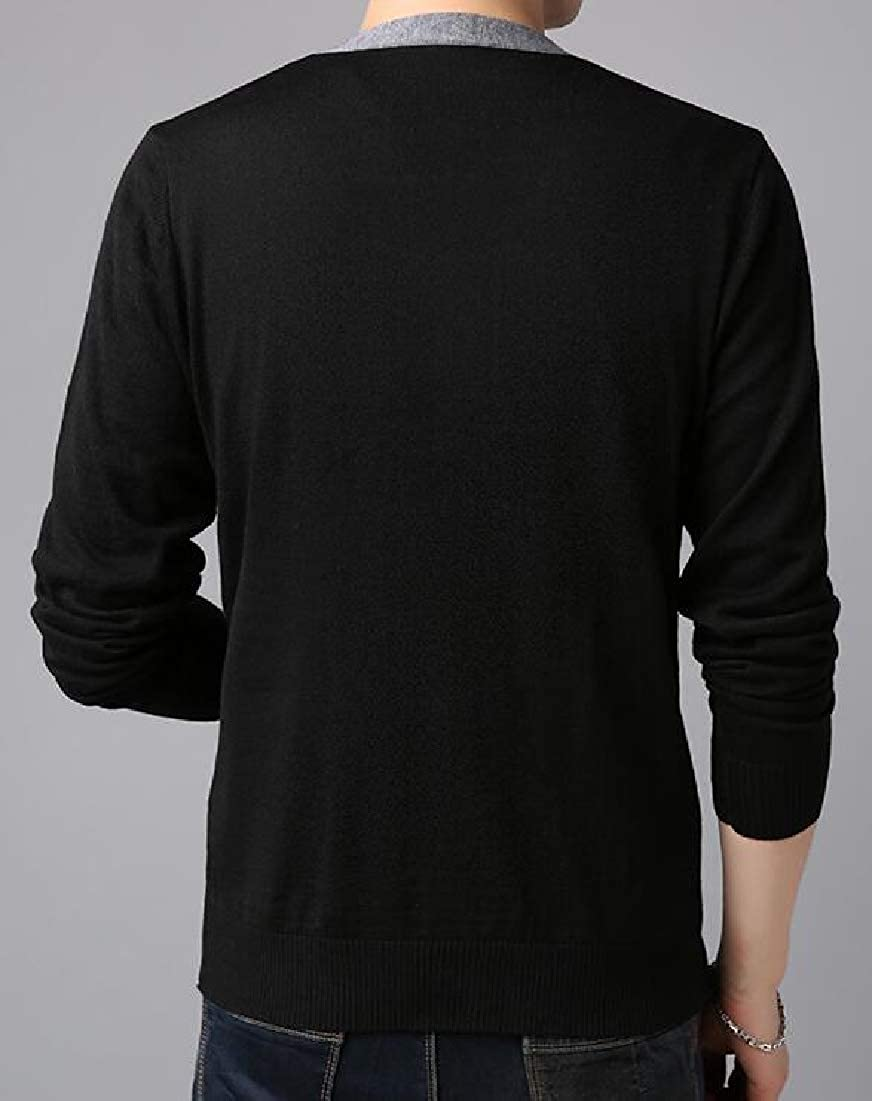 WSPLYSPJY Men Basic Fit V Neck Button Down Long Sleeve Knitted Sweater Cardigans