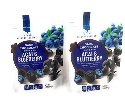 Chocolate Covered Blueberries and Acai-Pack of (2) 7oz Package of Natural Cravings Dark Chocolate Covered Acai and Blueberry by Natural Cravings