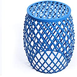 Adeco Home Garden Accents Wire Round Iron Metal Stool Side End Table Plant Stand Chair, Hatched Diamond Pattern, for Indoor Outdoor, Sea Blue