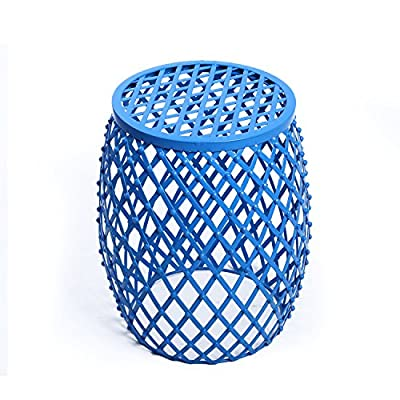 """Adeco Home Garden Accents Wire Round Iron Metal Stool Side End Table Plant Stand Chair, Hatched Diamond Pattern, for Indoor Outdoor, Sea Blue - Materials: iron Dimension: 15x15x18"""" Prefect to brighten any home settings and be durable at the same time - living-room-furniture, living-room, end-tables - 51J%2BIKikMqL. SS400  -"""