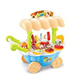 Pretend Playset Mini Light Music BBQ Cart Toy, OWIKAR Hand Push BBQ Grill Kitchen Food Trolley Sets Indoor Picnic Toys Outdoor Fun Pretend Game for Kids Toddlers Boys Girls (BBQ Cart Blue)