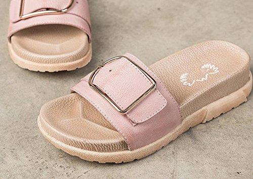 GRRONG Femmes Pantoufles pour l'été New Vintage Sandales Romaines Open Toe Chaussures Plates Occasionnels OzAazxf