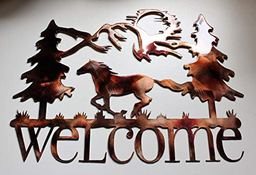 Running Horse Welcome Metal Wall Art Decor by HGMW 11 1/2