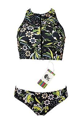 Color City Women Vintage Floral Zipper High Neck Bikini Beachwear Swimsuit
