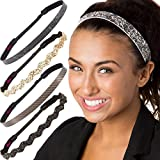 Hipsy Women's Adjustable Cute Fashion Headbands Hairband Multi Gift Pack (Essential Black/Brown/Gold 5pk)