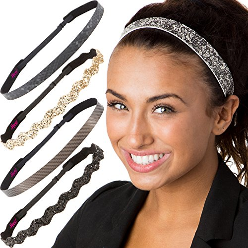 Hipsy Cute Fashion Adjustable No Slip Hairband Headbands for Women Girls & Teens (Essential Black/Brown/Gold 5pk) -