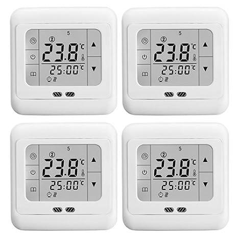 WMicroUK 4 x programable bodenwärme termostato blanco pantalla táctil: Amazon.es: Bricolaje y herramientas