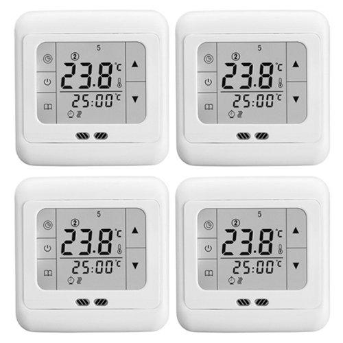 Lot de 4 é crans de contrô le LCD tactiles pour ré glage d'installation de chauffage au sol é lectrique Cadre blanc 16 A Kauf Klub