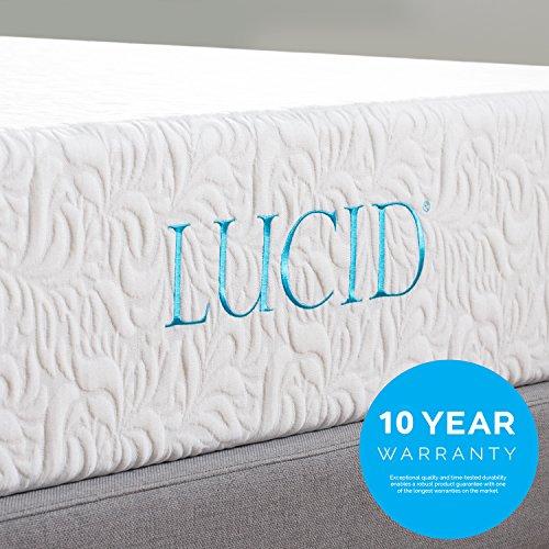 LUCID 10 Inch Latex Foam Mattress - Ventilated Design - CertiPUR-US Certified Foam - 10 Year Warranty - Queen