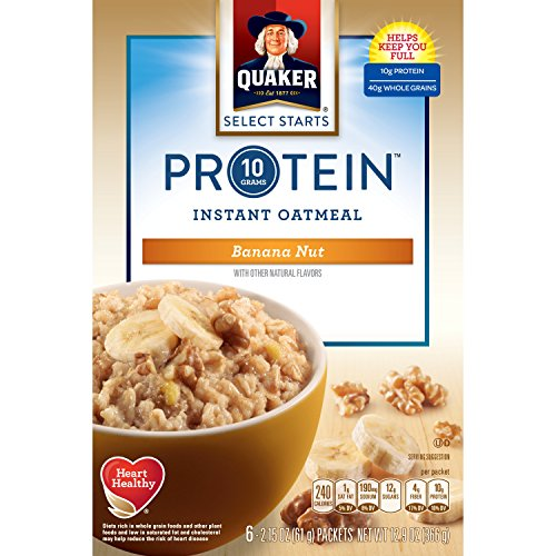 Quaker Select Starts Protein Instant Oatmeal, Banana Nut, Breakfast Cereal, 6 Packets Per Box
