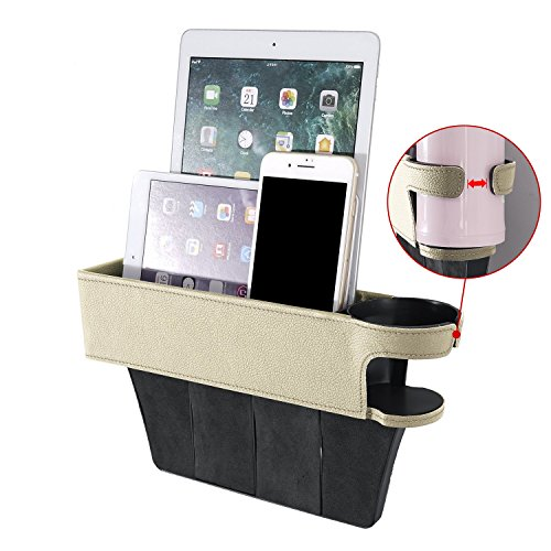 AV SUPPLY 3rd Upgraded Version, Side Pocket Organizer – Car Seat Filler Gap Space Storage Box w/Bottle Cup Holder Coin Collector Car Interior Accessories for Driver/Passenger Seat | PU Leather Beige