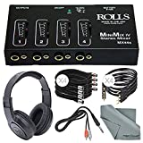Rolls MX44s Mini-Mix IV Mini 4-Channel Audio Mixer and Cables + Fibertique Cloth + Samson Stereo Headphones