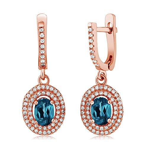 Gem Stone King 2.62 Ct Oval London Blue Topaz 18K Rose Gold Plated Silver Earrings