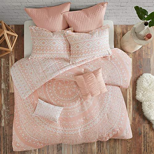 (Urban Living Blush Pink Medallion Boho Bohemian Girls Full/Queen Comforter Set (7 Piece Set))