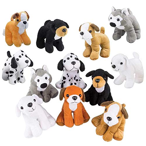 Bottles N Bags Plush Puppy Dog Stuffed Dog Animal Toys | Variety Pack Made of Soft Plush ● Great as a Party Favor, Gift, or Companion ● Pretend Play for Kids ● Dozen Puppy Assortment (48 Pack)