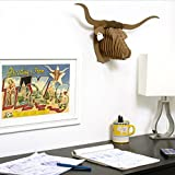 Cardboard Safari Recycled Cardboard Animal Taxidermy Longhorn Trophy Head, Tex Brown Small