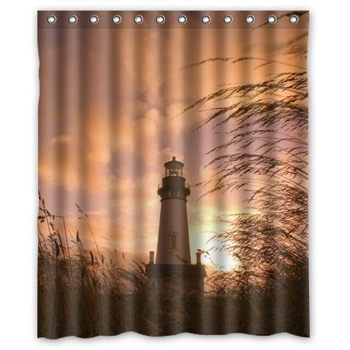 Special-Design-Lighthouse-With-Sunset-Pattern-Waterproof-Bathroom-Fabric-Shower-CurtainBathroom-decor-60-x-72-inches