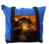 Lunarable Sunset Shoulder Bag, Horizon Lone Tree Africa, Durable with Zipper