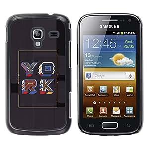 GOODTHINGS Funda Imagen Diseño Carcasa Tapa Trasera Negro Cover Skin Case para Samsung Galaxy Ace 2 I8160 Ace II X S7560M - Cartel York oro gris retro caligrafía