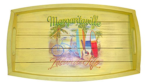 """Margaritaville Outdoor """"Island Life Butler Table - Constructed using Forest Stewardship Council (FSC) Poplar Wood Finished with 7 layers of quality Sherwin-Williams paint Margaritaville Parrot in Hammock logo - patio-tables, patio-furniture, patio - 51J%2BKAFtVdL -"""