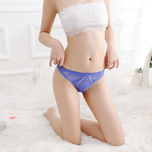 Meiye Mujer Ultra-delgada tanga transpirable del cordón de las mujeres de bajo cintura baja G-string ropa interior Azul