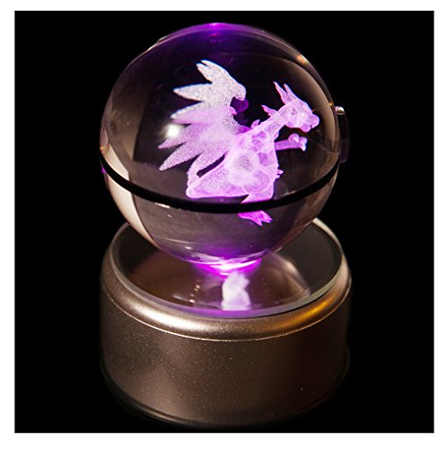 [Clear K9 Crystal 3D Pokemon Go Inspired Inside Engraved Lasermarked Glowing Pokeball with LED Rotary Lamp Base Toy Light Lamp] (Fan Costumes)