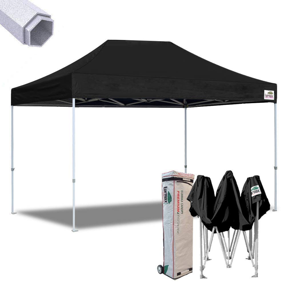 Eurmax 10×15 Premium Ez Pop up Canopy Instant Canopies Shelter Outdoor Party Gazebo Commercial Grade Bonus Roller Bag Black