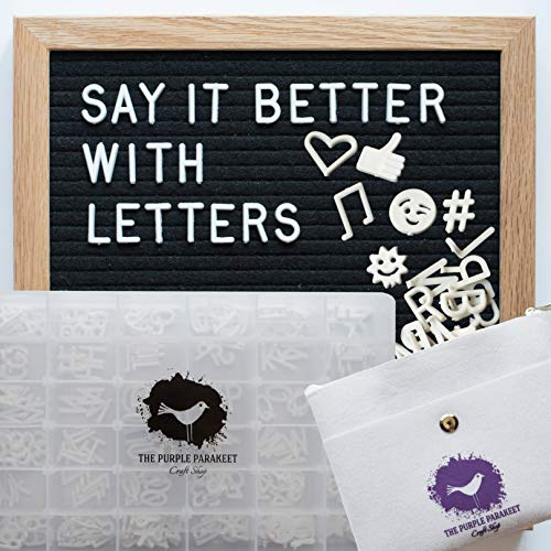 - Letter Board - Black Felt Letter Board 10x10 with 340 Letters - Solid Oak Frame, Stand, Felt Bag, Scissors - for Home Decor, Offices & Cafes