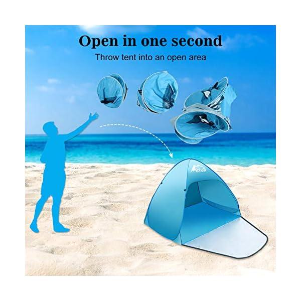 Bfull Tenda Da Spiaggia Per Esterni Portatile Con Protezione Solare Per 1 o 2 Persone, Apertura Istantanea Pop-up Colore… 6 spesavip