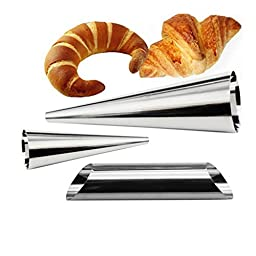 VWH 3pcs Stainless Steel Cream Roll Horn Molds Mini Cannoli Form