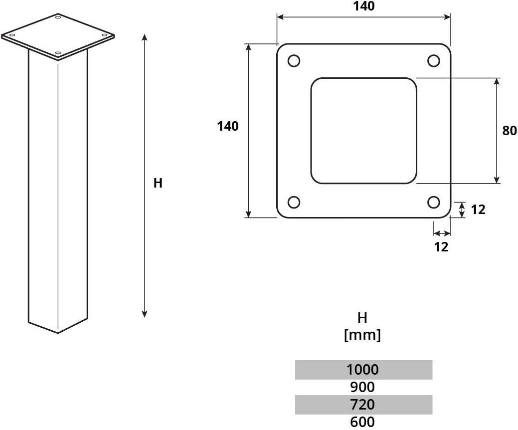 Gris Antracita Perfil Cuadrado 40x40 mm HLT-14A-F-10-7016 HOLZBRINK Pata de la mesa de Acero Altura: 10 cm 1 Piezas