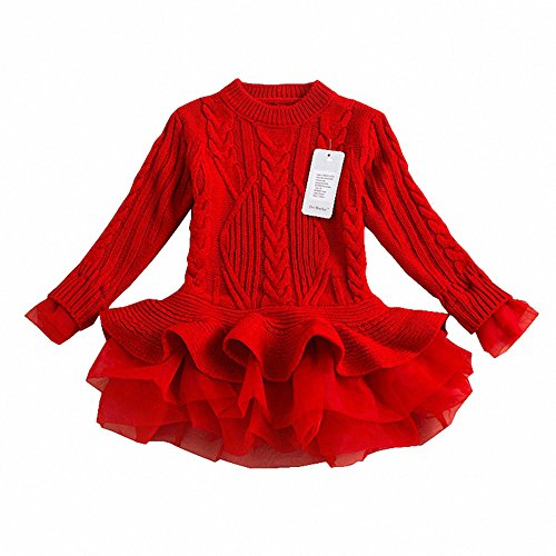 Generic Christmas Sweater Dresses for Girls Ruffle Sweater Long Sleeves Tutu Dress Stitching Knitting Pullover Tops for Kids (Red,110)