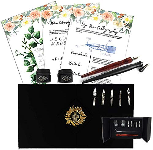 The Lettering Tribe Calligraphy Set For Beginners | Oblique Pen Holder + Wooden Pen + 5 Nibs + 2 India Ink + 2 Booklets| Caligraphy kits for beginners