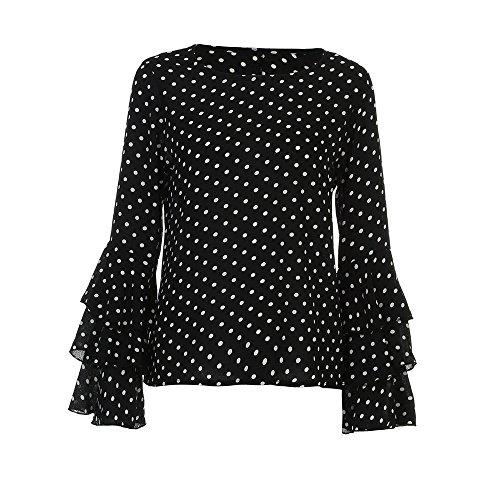 Noir Kobay À Pois nbsp;chemise Occasionnels Hauts Dames Manchon Chemisier Cloche Femmes Ample OwOrPq
