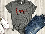 Product review for Buffalo Plaid shirt Valentines day holiday womens love shirt arrow tee gift for her